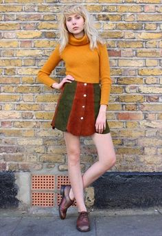 Vintage+70s+Patchwork+Buttoned+Front+Suede+Mini+Skirt