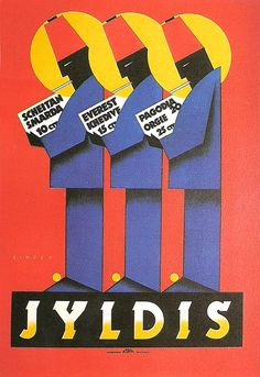 """¤ vJYLDIS CIGARETTE ADVERTISEMENT POSTER 1925  Joseph Binder (1898-1972) was an Austrian designer who was described in his day as """"the biggest talent and the greatest hope of Austrian graphic arts""""."""