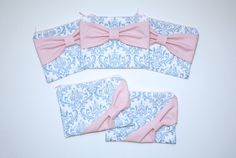 Bridesmaid Gift Set / Bachelorette Favors - French Blue Damask Light Pink Bows by AlmquistDesignStudio on Etsy