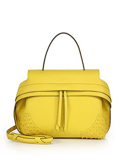 Tod's Wave Small Gommini Leather Satchel In Yellow Leather Satchel Handbags, Leather Purses, Satchel Purse, Me Bag, Tods Bag, Yellow Purses, Mellow Yellow, Yellow Top, Beautiful Handbags