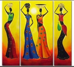 Hand Painted Colorful Figure Painting Modern Abstract Africa Women Canvas Oil Paintings Home Decor Wall Arts Picture 3 Panels Acrylic Painting Canvas, Fabric Painting, Canvas Art, Arte Tribal, Tribal Art, African Quilts, Afrique Art, African Art Paintings, Oil Paintings