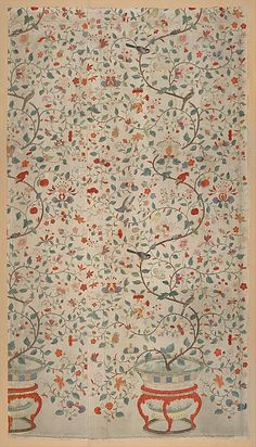 Wall Panel with Garden Urns Date: late 18th century Culture: Chinese, for European market Medium: Silk taffeta, painted and printed