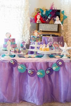 Little Mermaid Under the Sea Birthday Party with Such Gorgeous Ideas via Kara's Party Ideas   Cake, decor, favors, games, and more! KarasPar...
