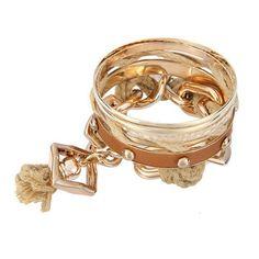 Punk Stud Tassel Bracelet Set in Camel