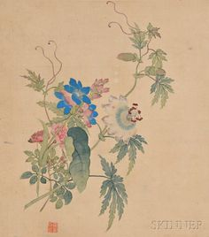Twelve Flower Painting Leaves from an Album | Sale Number 2810B, Lot Number 253 | Skinner Auctioneers