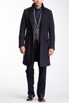 Solid Wool Blend Trench Coat