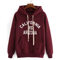 Hooded Drawstring Letter Print Maroon Sweatshirt ($14) ❤ liked on Polyvore featuring tops, hoodies, sweatshirts, red, red hoodies, maroon sweatshirt, pullover hoodies, hoodie sweatshirts and hoodies pullover