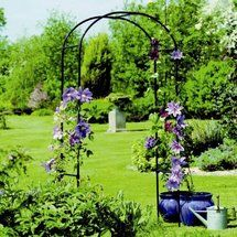 Buy A Simple Garden Arch, Spray Paint It, And Decorate With Fabric And  Flowers