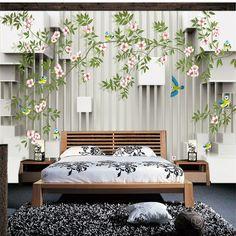 Elegant Flowers Bird Photo wallpaper Custom 3D Wallpaper Fashion Wall Murals Art Room decor Kids Bedroom Office Home Decoration