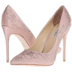 Benjamin Adams London Saskia (Blush Duchesse Silk) Women's Shoes ($390) ❤ liked on Polyvore featuring shoes, pumps, heels, sapatos, pointed toe stilettos, pointed-toe pumps, platform pumps, heels stilettos and slip-on shoes