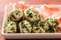 Marinated Bocconcini Recipe With Bocconcini, Extra-virgin Olive Oil, Parsley Leaves, Capers, Thyme Leaves Bariatric Recipes, Paleo Recipes, New Recipes, Favorite Recipes, Italian Recipes, Summer Appetizer Recipes, Vegetarian Appetizers, Picnic Recipes, Appetizer Ideas