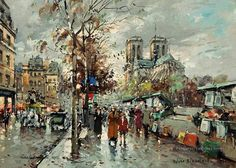 Bouquinistes de Paris - Painting by Antoine Blanchard #art