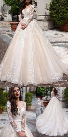 83648bc88d0cb Elegant Tulle & Organza Scoop Neckline Ball Gown Wedding Dress With Lace  Appliques &