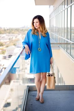 A Shift Into Mommy Fashion | Southern Made Blog | @elaineturner | shift dress, mommy style, mommy fashion, how to wear a shift dress, spring style, cork handbag, purse, cork wedge, elaine turner necklace, easy look, easy style, bold turquoise, summer style, travel outfit