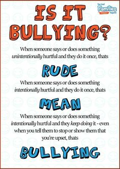 Rudeness vs Being Mean vs Bullying A4 Poster | Families Magazine