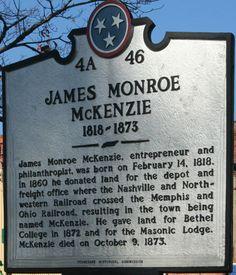 Historic marker in my hometown of McKenzie, Tennessee.