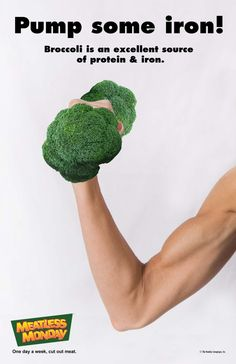 Pump some iron! Broccoli is an excellent source of protein iron. Monday Inspiration, Fitness Inspiration, Fitness Tips, Health Fitness, Plant Protein, Protein Sources, Vegan Foods, Meatless Monday, Health Education