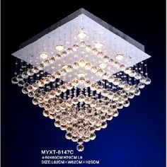 9 Lights Modern Rain Drop Crystal Chandelier with Polished Chrome Square Base Rain Drops Design