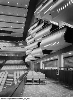 HKR01/04/590 Photographer: Professor Margaret F Harker Interior view of the boxes and seating from 53 level on the right hand side of the auditorium in the Royal Festival Hall Date1951 For more information or to search our collections please click on the image. Festival Hall, Auditorium, Professor, Britain, Photographers, Boxes, England, College, Collections