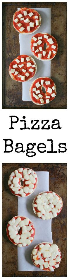 Remember those pizza bagels you had when you were a kid?  These are the delicious grown-up version!  Made with real mozzarella cheese and fresh bagels, they're sure to be a hit!  #SundaySupper #GalloFamily