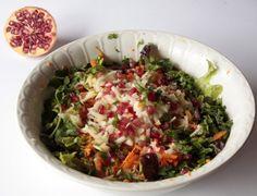 Ensalada de manzana, zanahoria, granada y cilantro