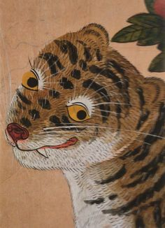 (Korea) Tiger by unknown artist. ca 19th century CE. Joseon Kingdom, Korea. color on paper. Korean painting.