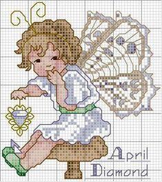 Toddler Birthstone Fairy April Diamond Cross Stitch Pattern 3/5