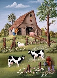 Decorative house flag depicting an old rustic barn on a hill with lots of friendly farm animals all doing their daily routine. Farm Paintings, Country Paintings, Barn Art, Cow Art, Country Scenes, Illustration, House Flags, Country Art, Country Life