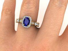 Blue Natural Sapphire Engagement Ring, Diamond Proposal ring, Diamond Engagement Ring, by BridalRings on Etsy https://www.etsy.com/listing/478253118/blue-natural-sapphire-engagement-ring