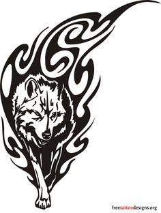dessin de tattoos de loup tribal