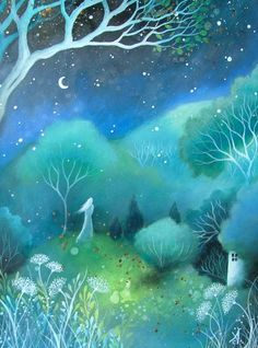 A fairytale art print  'Moon' by Amanda Clark by earthangelsarts, $27.00