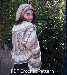 2 Crochet Patterns. Caramel Latte Shrug and Hat, beret,  instant download.