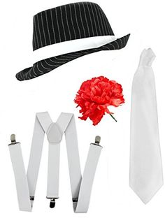 Ilovefancydress Men's Gangster Set Fancy Dress Accessory Costume Deluxe Kit Pinstripe Trilby Hat + White Braces + White Tie Mob Gangster Men Al Capone One Size Black/ White ILOVEFANCYDRESS http://www.amazon.com/dp/B00IA0WHIU/ref=cm_sw_r_pi_dp_.YAMwb0D257ZN