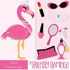 Diva flamingo clip art pink girl flamingo by TheFriendlyFlamingo