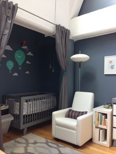 Shades of Gray Nursery: full of grays, white, and a pop of teal with a Babyletto Hudson 3-in-1 Convertible Crib