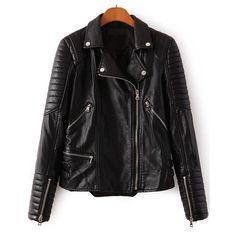 Black Lapel Long Sleeve Zipper Crop PU Jacket ($34) ❤ liked on Polyvore featuring outerwear, jackets, sheinside, black, polyurethane jacket, pu jacket, zip jacket, biker style jacket and cropped jacket