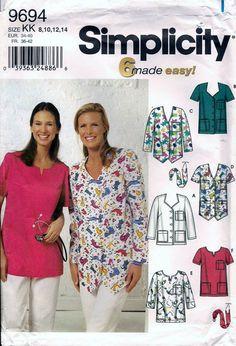 Simplicity 9694 Misses Scrubs Tops Sewing by vintagepatternstore