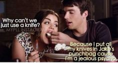 Hahahahaha because I put all my knives in Jake's punchbag Whatever it's ok because he is Ezra lol