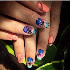 Beautiful nail colors, Beautiful summer nails, Bright colorful nails, Manicure for swimsuit, Medium nails, Oval nails, Palm tree nail art, Summer colorful nails