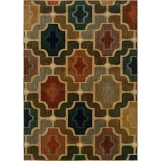 Oriental Weavers Transitional Gold Colorful Nylon Geometric Machine-Woven Area Rug