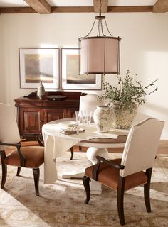 Gallery For Photographers Ethan Allen Vintage Dining Room I love the mix of the leather seat with a taupe linen on the top part of the chair