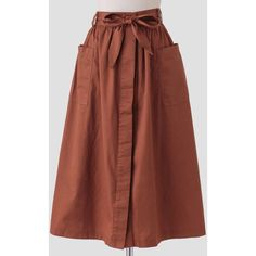 Ruche Old World Midi Skirt (£39) ❤ liked on Polyvore featuring skirts, brown, shirred skirt, calf length skirts, midi skirt, mid-calf skirt and gathered skirt