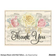 Antique Music with Pink Yellow Floral Thank You Postcard