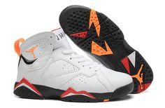 ab1113ae1ea236 Find Jordan VII Mens White Orange Black Sneakers online or in Nikelebron.  Shop Top Brands and the latest styles Jordan VII Mens White Orange Black  Sneakers ...