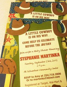 Cowboy or Cowgirl Western Baby Shower Invitations