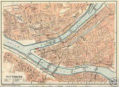 72 Best Maps Of Pittsburgh Pa Images Blue Prints Cards
