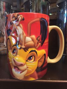 disney parks the lion king simba pumbaa and timon ceramic coffee mug new