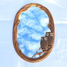 Oval Owl Mirror Vintage Kitsch 29 x 19 Molded Sculpted Owls Wall Decor #Unbranded #Novelty