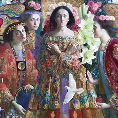 Artwork by Olga Suvorova - Unknown, Klimt, Costume Design Sketch, Art Drawings Beautiful, William Morris, Painting People, Russian Art, Portrait Art, Portraits, Wassily Kandinsky