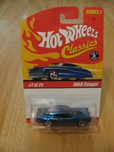 Hot Wheels Classics Series 1 - 1968 Cougar #7 of 25 by Mattel. $1.87. Hot Wheels Classics Series 1 - 1968 Cougar #7 of 25. Color is Metallic Aquamarine. Die Cast body & chassis. Special Paint. Limited Edition. You will receive the exact item pictured. HW15